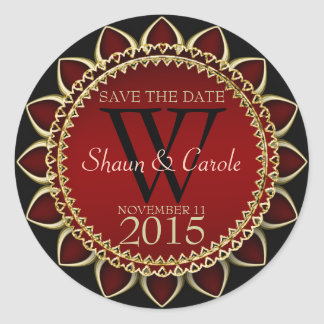 Red Gold Sunflower Monogram Save the Date Sticker