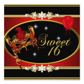 """Red Gold Sweet Sixteen Sweet 16 Masquerade 5.25"""" Square Invitation Card"""