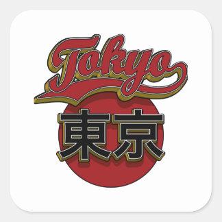 Red Gold Tokyo Retro Square Sticker