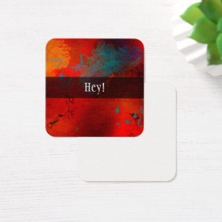 "Red, Gold, Turquoise Abstract with ""Hey! Notes Square Business Card"