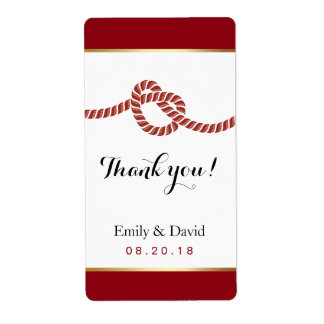Red & Gold Tying the Knot Wedding Wine Labels