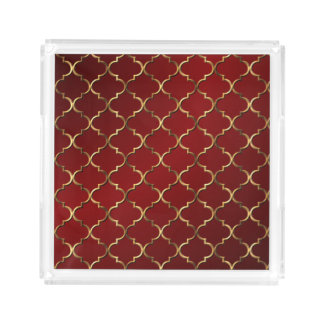 Red Gold Vintage Modern Style Arabesque Mosaic Acrylic Tray
