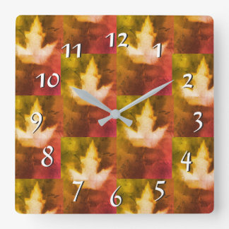 Red Gold Warm Colors Maple Leaf Artisan Canada Square Wall Clock