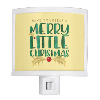 Red & Gold Watercolor Merry Little Christmas Nite Lights