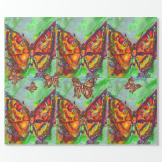 RED GOLD YELLOW BUTTERFLIES IN GREEN