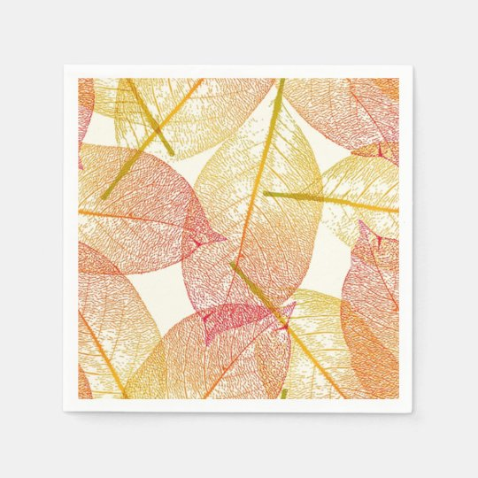 Red Gold Yellow Leaves Autumn Season Pattern Disposable Napkins