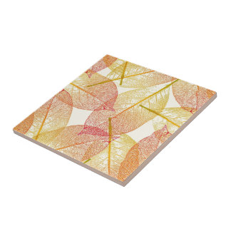 Red Gold Yellow Leaves Autumn Season Pattern Tile