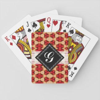 Red gold yellow pattern, black & white monogram playing cards