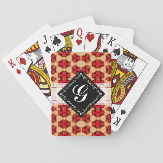 Red gold yellow pattern, black & white monogram poker deck