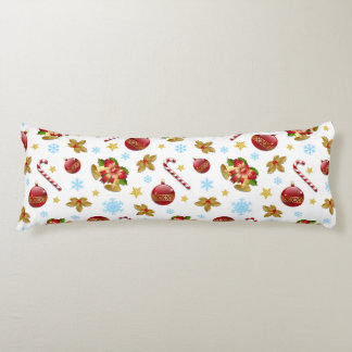Red & Golden Christmas balls, Christmas holly Body Pillow