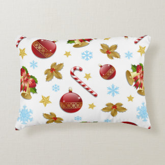 Red & Golden Christmas balls, Christmas holly Decorative Pillow