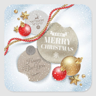 Red,Golden Christmas Balls, Star on Sparkling Snow Square Sticker