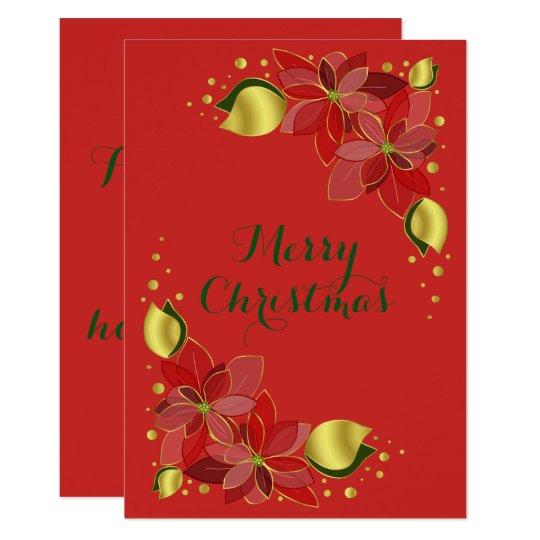 Red golden elegant poinsettia christmas card