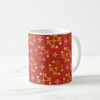 Red golden flower pattern coffee mug