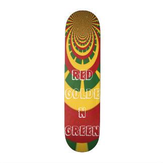 Red Golden Green Rasta Skate Board
