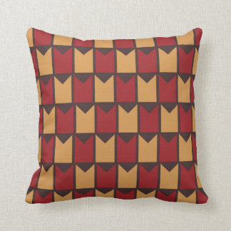 Red Golden Yellow and Brown Checkered Pattern Throw Pillow