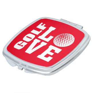 Red Golf Love Travel Compact Mirror