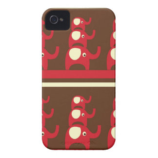 Red good luck elephants pattern print iPhone 4S Case-Mate iPhone 4 Cases