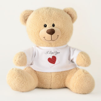 Red Gradient Heart in Box Teddy Bear