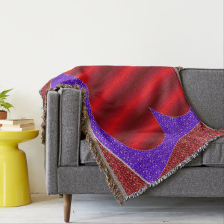 Red Gradient Heart w/Red and Purple Faux Glitter Throw