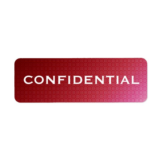 Red Gradient Pattern CONFIDENTIAL label Return Address Label