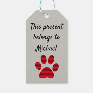 Red Gradient Paw Print Gift Tags