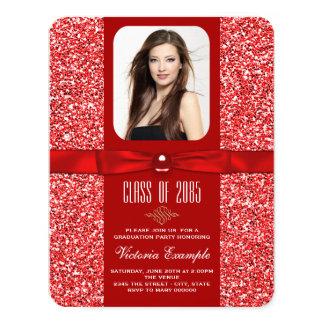 "Red Graduation Announcements 4.25"" X 5.5"" Invitation Card"
