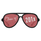 Red Graduation Class of Custom Year and Text Aviator Sunglasses
