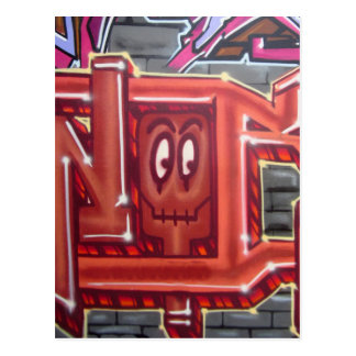 Red graffiti face postcard