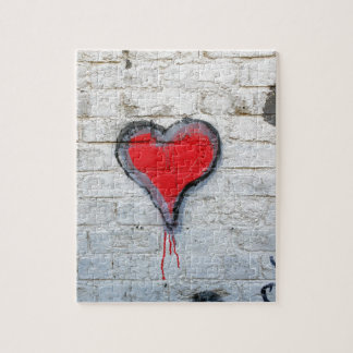 Red graffiti heart puzzle