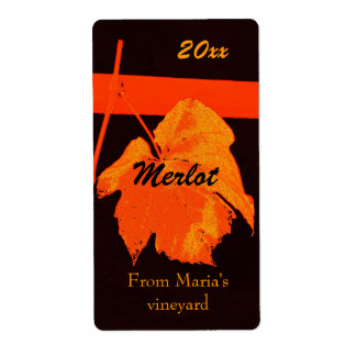 Red grape leaf wine bottle label shipping label