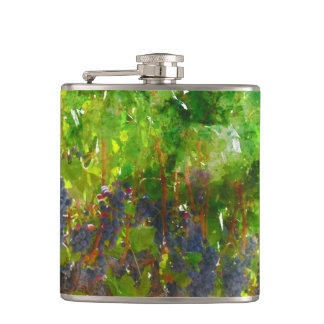 Red Grapes on the Vine Flask