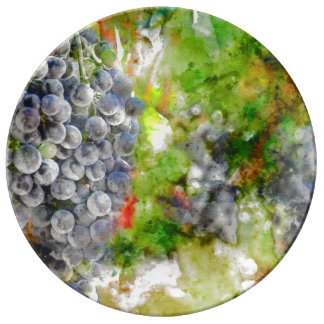 Red Grapes on the Vine Plate