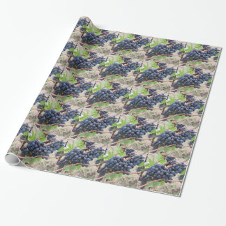 Red grapes on the vine with green leaves wrapping paper