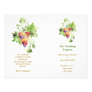 Red Grapes Watercolor Wedding Program Flyers