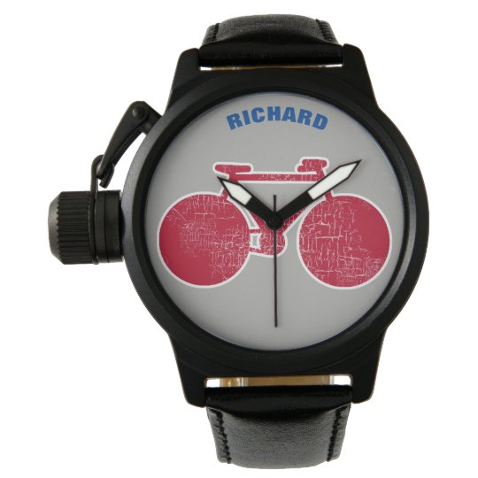 red graphic bike with name, cool wristwatches