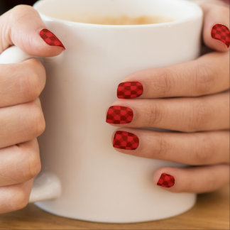 red graphic plaid designed nail art