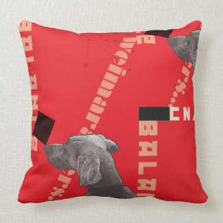 "RED GRAPHIC WEIM PILLOW 20""X20"" COTTON"
