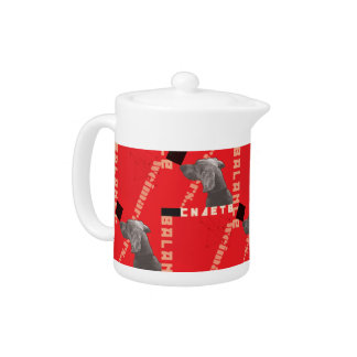 RED GRAPHIC WEIM SMALL CERAMIC TEAPOT