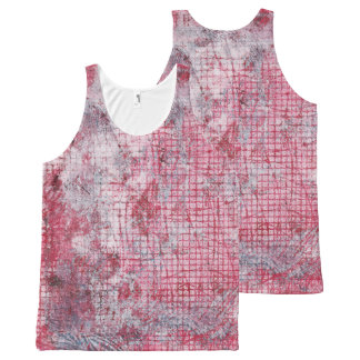 Red Gray Abstract Monoprint 170301 Tank