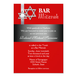 "Red gray bar mitzvah celebrations 5"" x 7"" invitation card"
