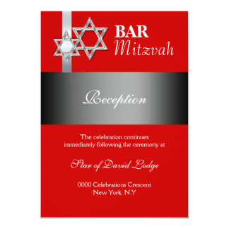 "Red gray bar mitzvah RECEPTION 5"" X 7"" Invitation Card"