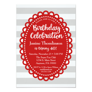 Red Gray Birthday Invitation Adult Wide Stripe