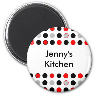 Red Gray Black Dots Kitchen Magnet