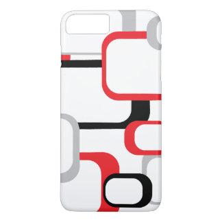 Red Gray Black White Retro Square Pattern iPhone 8 Plus/7 Plus Case