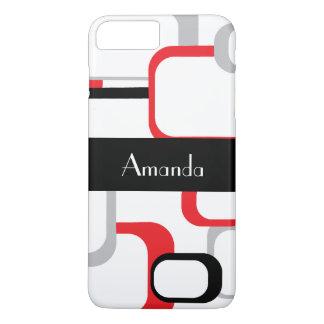 Red Gray Black White Retro Square Personalize Case-Mate iPhone Case