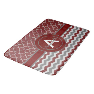 Red Gray Chevron Quatrefoil Bathroom Mat
