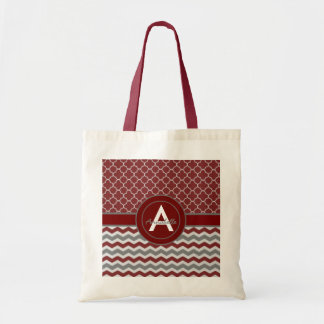 Red Gray Chevron Quatrefoil Tote Bag