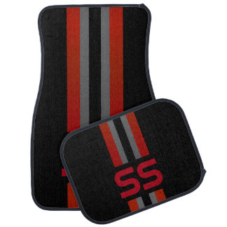 Red, Gray Double Race Stripes | Personalize Car Mat