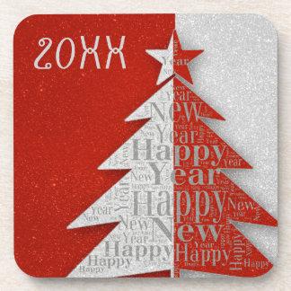 Red Gray Happy New Year 2016 Coaster